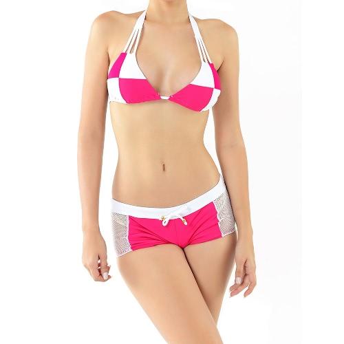 Novas mulheres Sexy biquini cor bloco Halter sem fio acolchoado duas peças maiô Swimwear maiôs Rose