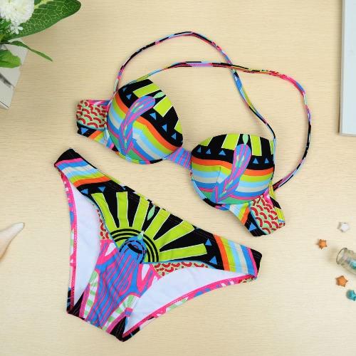 Sexy Women Bikini Set kolorowym nadrukiem Halterneck Push Up Góra Dół Plaża kąpielowe Strój kostium zielony