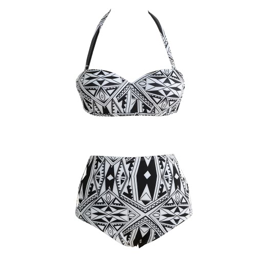 Women Bikini Set Cut Out High Waist Padded Wire Halter Retro Two Piece Swimsuit Swimwear Black