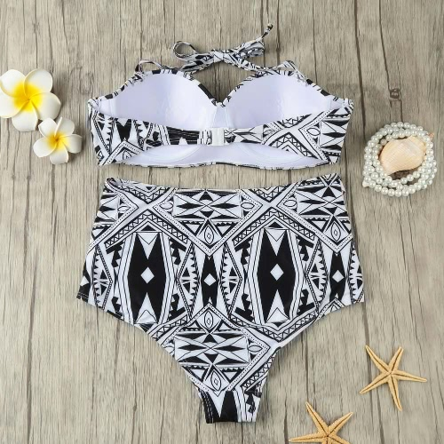 Women Bikini Set Cut Out High Waist Padded Wire Halter Retro Two Piece Swimsuit Swimwear Black, TOMTOP  - buy with discount
