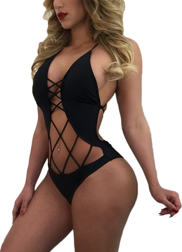 Nueva Sexy Women Vendaje traje de baño Monokini Strappy Hollow Out Backless Beach traje de baño Bikini traje de baño