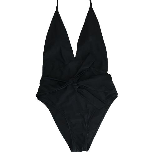 Frauen-Badeanzug-Badebekleidung Halter-tiefer V-Ansatz Bogen-fester Badeanzug Beachwear Backless Monokini