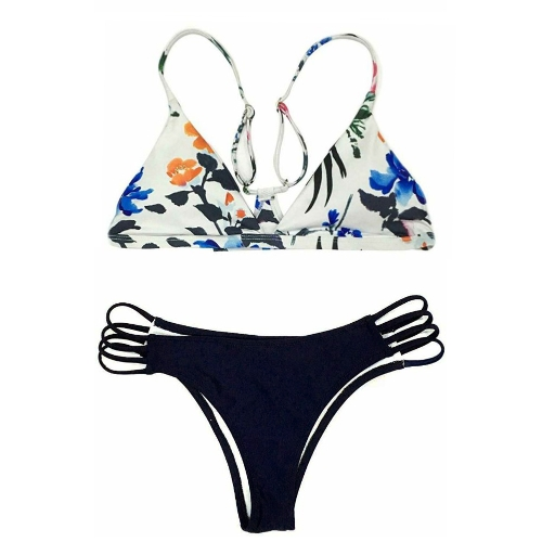 Sexy Frauen Bikini Set Blumendruck Wireless Strappy Badeanzug Badeanzüge Zweiteiler Beach Wear