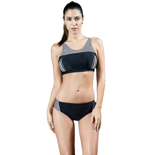 Sportowy zestaw damski Tankini w paski Tank Cropped usztywniany bezprzewodowy dwa kawałki strój kąpielowy strój kąpielowy bikini
