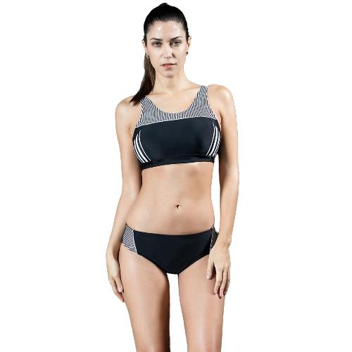 Frauen Sportliche Tankini Set Striped Abgeschnitten Tank Top Padded Wireless Zwei Stücke Bikini Badeanzug Bademode