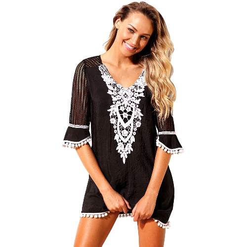 Sexy Women Beach Cover Up Dress Crochet Lace Hollow Out Half Sleeves Loose Swimwear Beachwear