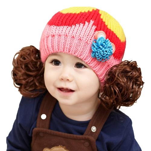 Cute Winter Kids Girls Kintted Candy Color Block Babies Warm Hat Beanie Cap GA0144RO