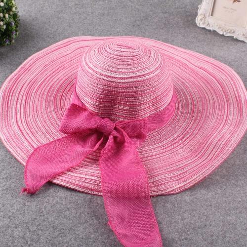 Nova moda mulheres chapéu aba larga arco ornamento dobrável praia sol Cap
