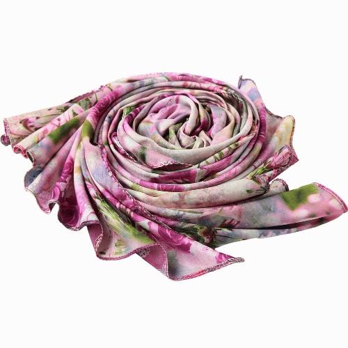 echaron a un lado doble de las nuevas mujeres bufanda de seda impresiones Rose Mariposa de plumas de la vendimia larga del mantón de Pashmina amarillo / azul / rosa