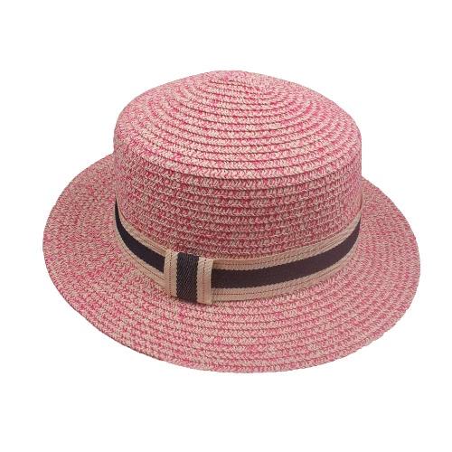 Nuevo casquillo ancho del día de fiesta de la playa de Sun del verano del borde de la cinta del sombrero de paja de las mujeres de la manera Sombrero de Fedora Trilby
