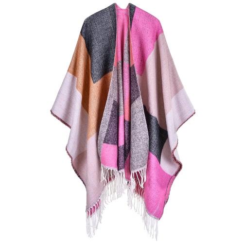 Mujer Poncho Bufanda Cardigan Suéter Borlas Bloque De Color Caliente Cabo Shawl Bufandas Largas Pashmina Outwear