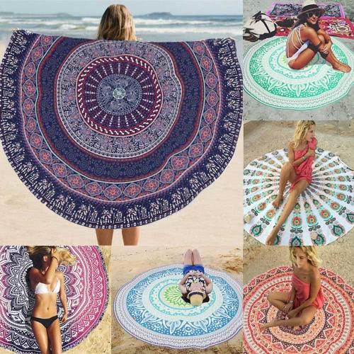 Beach delle donne dell'annata Cover Up Mantello Bohemian Boho Stampa rotonda Mat Hippie Costume da bagno Estate costume da bagno