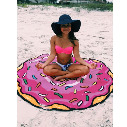 Women Round Beach Towel Printed Tapestry Beach Throw Yoga Mat Picnic Blanket Orange/Rose