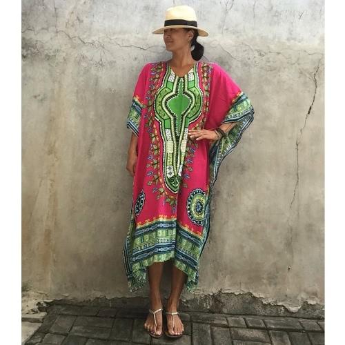 Ethnique Cover Up Femmes Plus Size Printed V Neck Maxi Boho Hipppie Dashiki Bikini Beach Kaftan Robe