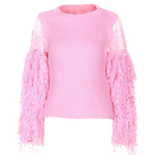 Elegante mujer suéter de punto delgado encaje esponjoso piel sintética o-cuello de manga larga jerseys Top prendas de punto