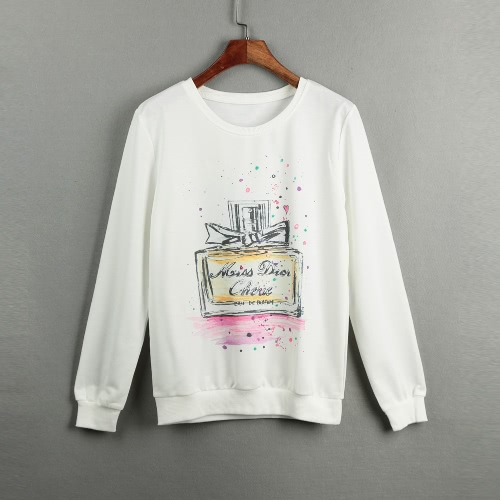 Las nuevas mujeres de la camiseta ocasional impresa O-cuello de manga larga sudadera con capucha sudaderas tapa floja