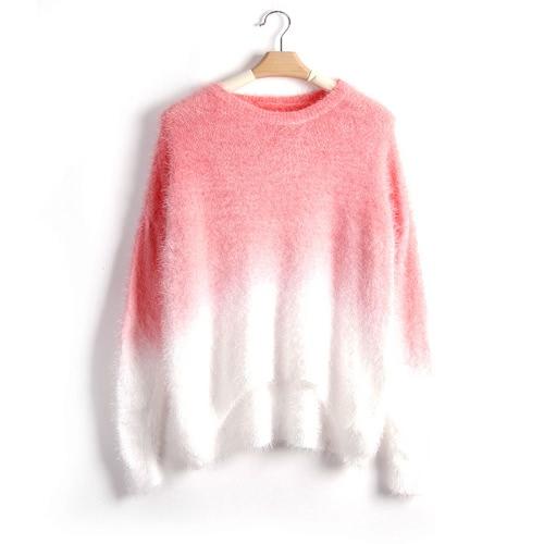 Nowe mody Kobiety Gradient Sweter z dzianiny Puszysty Moher Batwing rękawem O Neck Luźny Sweter Sweterek