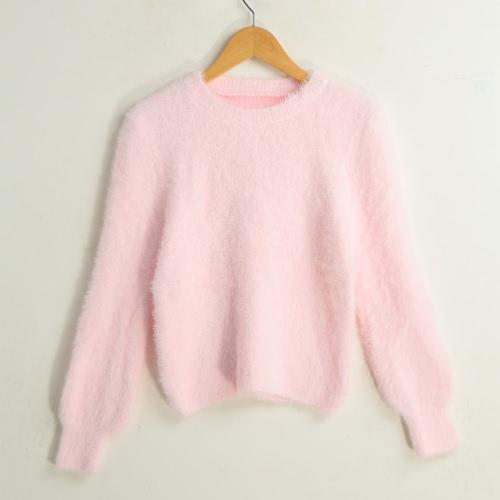 Nueva manera de las mujeres suéter de punto de color sólido del O-cuello de manga larga ocasional caliente grueso del puente sudadera géneros de punto