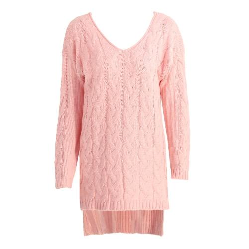 Las nuevas mujeres Midi torcedura suéter de punto V Cuello sólido de manga larga de Split de mayor a menor Hem Loose caliente Jumper Pullover géneros de punto rosa / gris