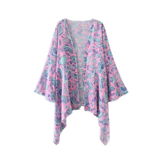 Kobiety Moda Długi Sweter Kimono Szyfonowa Bluzka Bohemian Floral Drukowane Loose Bikini Pokrywa Różowy