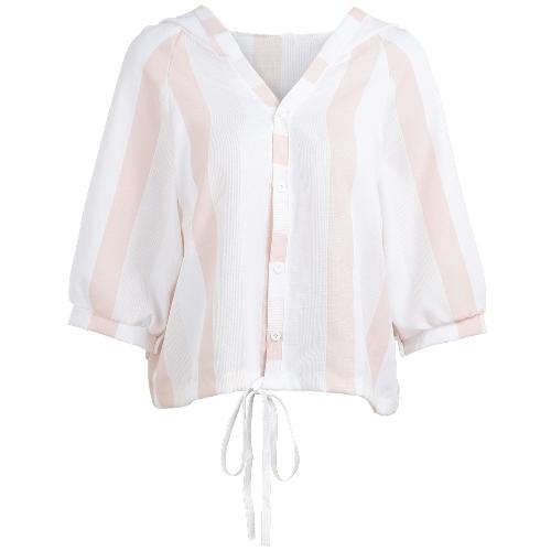 Blusa con capucha rayada de las mujeres V cuello botón linterna raglán 3/4 manga con cordón flojo camisa suelta Tops casuales