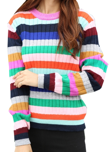 Mulheres novas Camisola de malha Rainbow Stripes Contraste Cor Long Sleeve Casual Warm Jumper Pullover Malhas rosa / amarelo