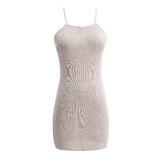 Las mujeres escarpada atractiva de punto vestido de la correa de cabestro abrazo de la muerte sin respaldo playa cubre Party Up Discoteca Mini vestido rosa / gris