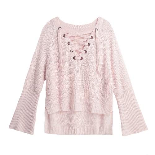 Flare manga de punto de las mujeres suéter de encaje hasta el cuello en V Pullover Sexy Jumper Casual suelto Split Knitwear