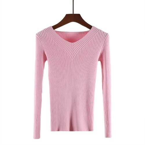 Moda Mulheres Basic Knitted Top V Neck manga comprida Casual Slim Elastic Knitwear Sweater Pullover