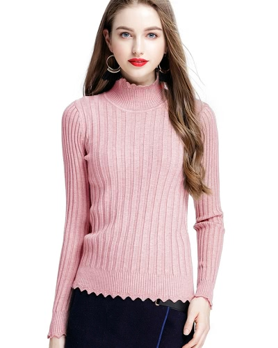 Women Ribbed Knitted Pullover Sweaters Turtle Neck Scalloped Solid Slim Stretchy Jumpers Knitting Top