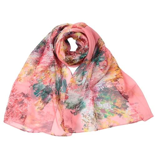 Nuevas mujeres forman a pañuelo de gasa especial contraste de impresión en color fina larga de pashmina