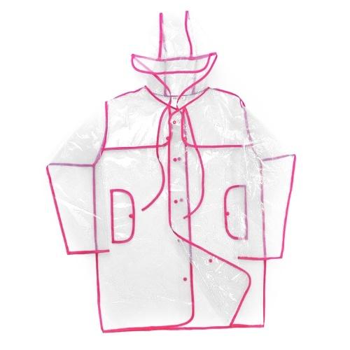 Abody femmes imperméable à capuche cordon boutons transparent EAV tissu imperméable lâche poncho de pluie