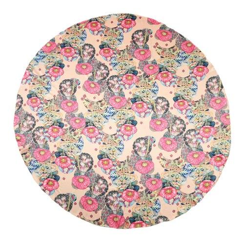 Las nuevas mujeres toalla de playa de poliéster satinado de impresión floral del bloque del color de la forma redonda de Boho del estilo de Manta
