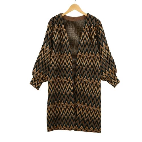 Nueva mujer chaqueta contraste onda Vestido de rayas de punto abierto delantero abrigos largo suelto marrón