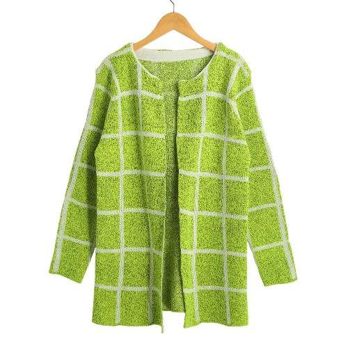 Escudo de punto de las mujeres de la tela escocesa larga delantera abierta mangas hecho punto ocasional del verde largo de la chaqueta de punto / azul marino