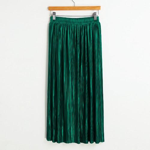 Nueva Breve Europa falda plisada color sólido de la alta cintura elástico de la pretina de la falda de Midi forrado
