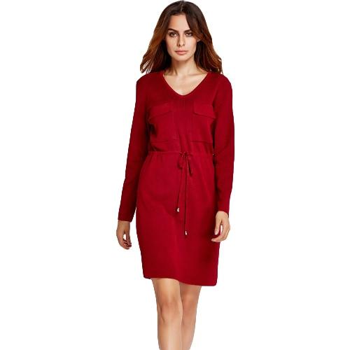 New Winter Women Dress Solid Color Pockets Drawstring V-Neck Long Sleeves Drawstring Mini Dress