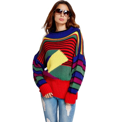 Women Knitted Sweater Striped Geometric Pattern Contrast Splicing Colorful Pullover Knitwear Top Red