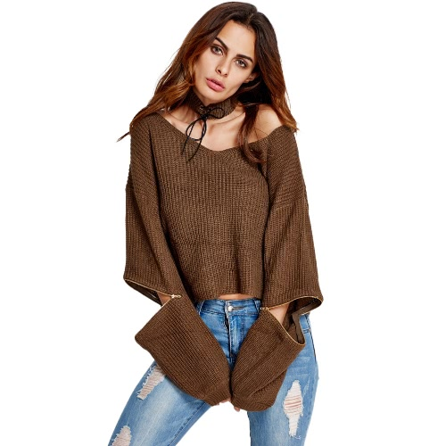 Las nuevas mujeres suéter de punto de Off-hombro con cuello en V de la cremallera de la manga Gargantilla hacen punto caliente del jersey Tops