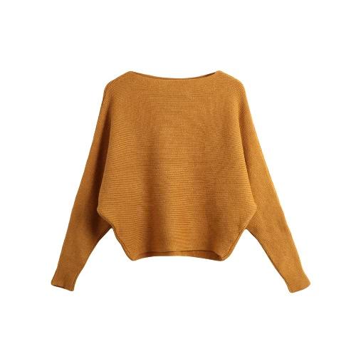Moda feminina camisola de manga longa de cor sólida malha pulôver Batwing luva Casual o Slash Neck Tricô Top