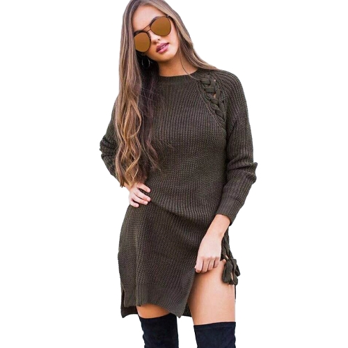Nuevas mujeres atractivas del invierno ataban con punto el jersey de punto o cuello de manga larga de punto dividido jumper jersey de punto