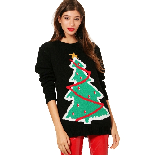 Frauen Strickpullover Häkeln Weihnachten Weihnachten Santa Tree Elf Muster Langarm Lose Beiläufige Pullover