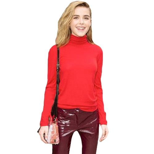 Nuevas mujeres del suéter hecho punto delgado de cuello alto de manga larga cuello alto sólido apretado pullovers Top prendas de punto