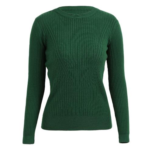 Suéter elástico con cuello en V de manga larga para mujeres Suéter con acabado elástico de punto fino en el cuello