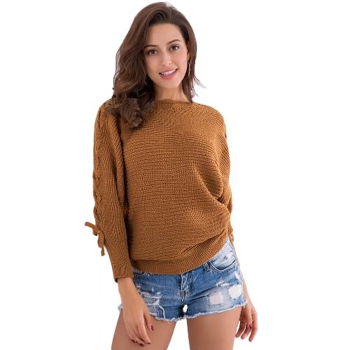 Mujeres con cordones de punto jersey de manga larga con cuello barco sueltas Jumper Bottoming Sweater Top marrón / beige