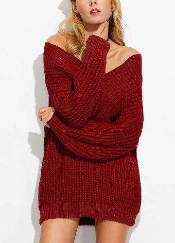 Suéter de las mujeres del hombro V cuello de punto grueso de manga larga Sexy suelta prendas de punto
