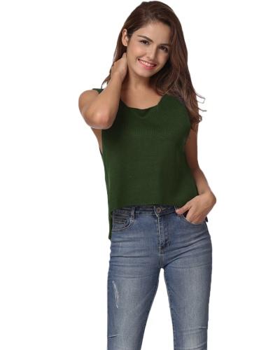 Nuevas mujeres hechas punto suéter de cuello redondo de color sólido sin mangas Hem irregular de pulgar Hem Pequeños Gris / Verde Ejército / azul oscuro