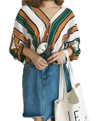 Moda Mujer Camisas sueltas Contraste Color Rayas V cuello Batwing manga Casual Blusa Tops Azul / Verde