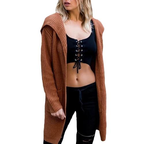 Invierno mujeres con capucha de punto suéter de rebeca encaje hasta dividir mangas largas informal caliente suelta prendas de vestir