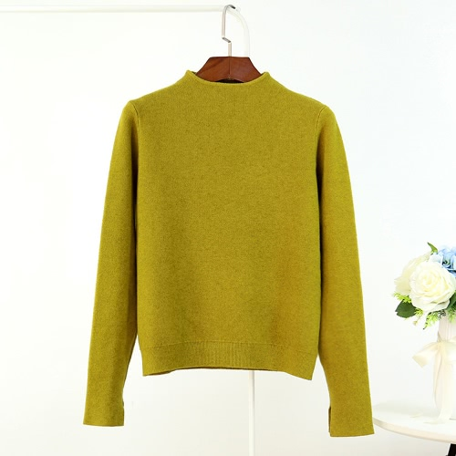 Las nuevas mujeres hacen punto el suéter del suéter del suéter del cuello alto de la rebeca cubren las telas de punto ocasionales
